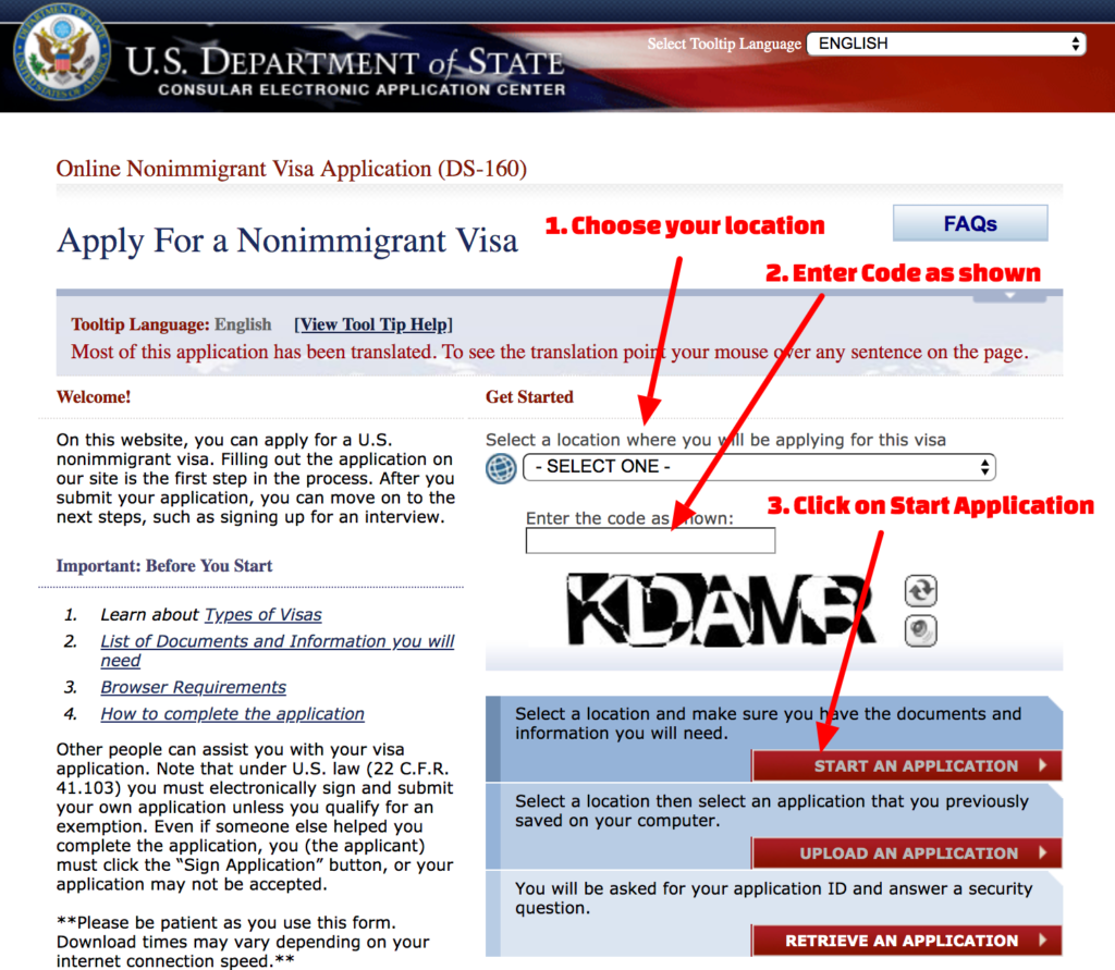 How To Fill US_Visit_Visa_Applicaiton - Step 1